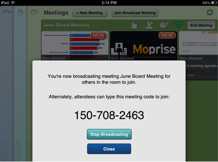 Broadcast Meeting Code in a dialog box
