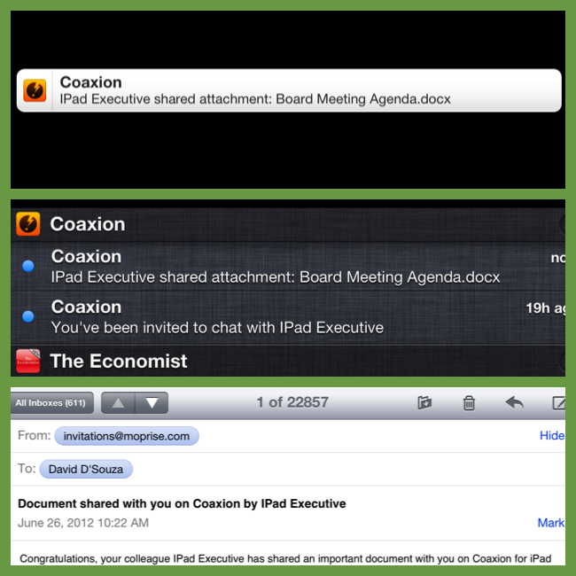 On Device and Email Notifications from Coaxion