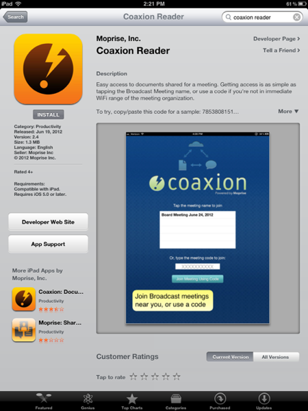 Coaxion in the iPad App Store