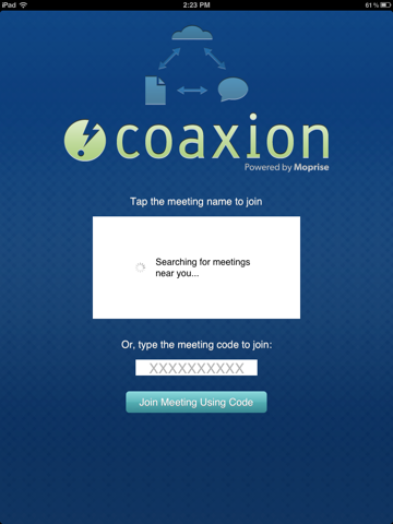 Launching Coaxion Reader on the iPad